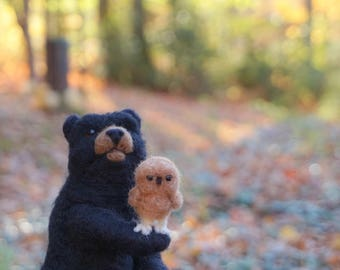Needle Felt Bear and Owl Ooak Felt Wool Scupture