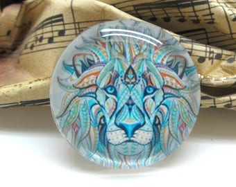 2 cabochons 14 mm glass Lion Tribal 2-14 mm