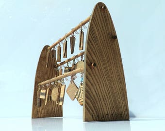 Wooden Earrings Stand with 21 earrings - INATOSF