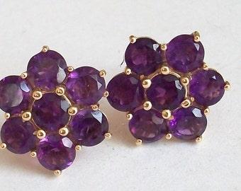 9ct Gold Amethyst Flower Stud Earrings 3.6gr