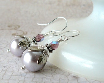 Lavender Pearl Earrings, Pale Lavendar Glass Pearl Dangles, Vintage Style Romantic Jewelry, Light Mauve Pearl Drop Earrings, Gift For Her