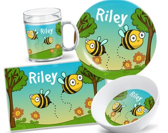 Bumble Bees Plate Set - Personalized Kids Plate - Kids Bowl - Custom Kids Tableware - Custom Placemat - Bumble Bees Dinnerware for Kids