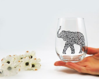 Elephant glass, trunk up - Hand painted stemless white wine glass - Safari Collection