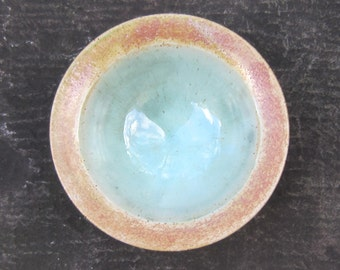 Bronze-rimmed bowl with celadon green glaze; Jewellery receptacle; Confectionery dish; Chutney dish; Pickles dish; Snacks dish; Olives dish