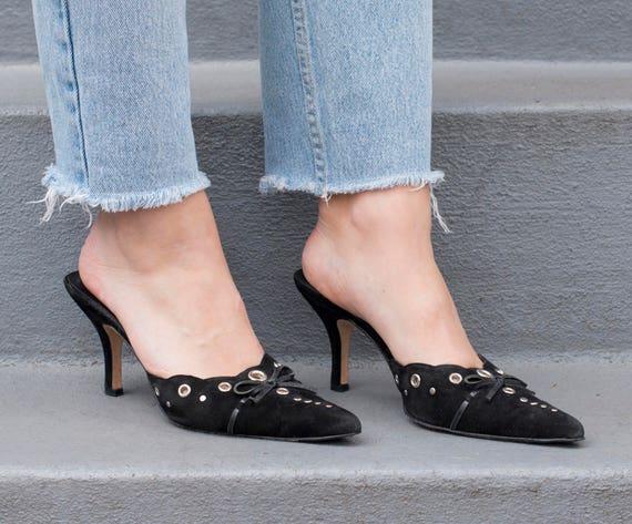 metal vintage leather mules bow 39 heel slide shoes 80s pointy 9 studded kitten van suede grommet black eli 1980s black heels rSrgqPA