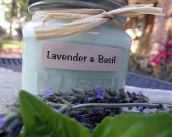 Lavender and Sweet Basil Soy Candle - Vintage Style Mason Jar - 8 oz.