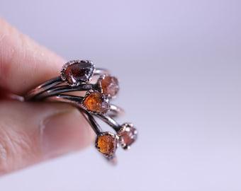 Raw Garnet Ring Tiny Spessartine Garnet Crystal Ring Garnet Crystal Ring Electroformed Ring Copper Ring Electroformed Garnet Ring Orange
