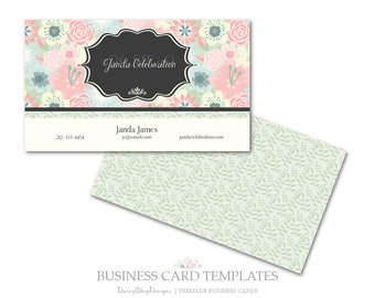 Business Card,Premade Business Card Design,Calling Card-Floral,Daisies,Leaves-Pink,Green,Beige-Business Card Template For Printing.