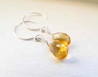 Citrine earrings November birthstone silver gold hoops