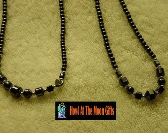 Hematite Bead Necklace with Steel Bead Accents