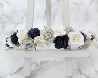 White navy dusty blue flower crown - girls - floral hair wreath - headpiece - flower hair accessories - head wreath - halo