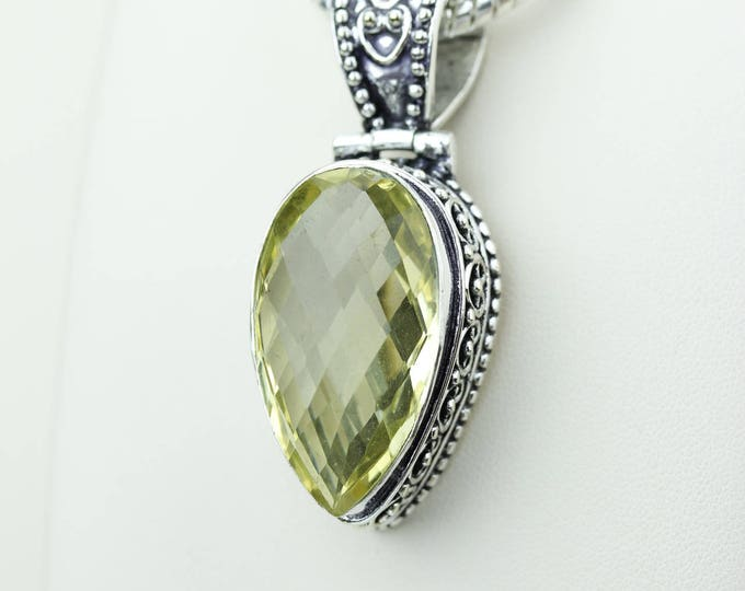 Facated Vintage Setting Citrine 925 S0LID Sterling Silver Pendant + 4MM Snake Chain & Worldwide Shipping p4219