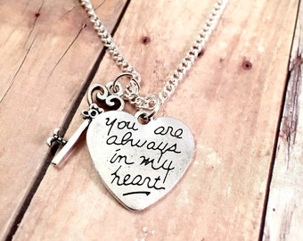 Heart charm Necklace, Always in my Heart charm necklace, charm necklace, for her, Valentine's Day jewelry, gift for her