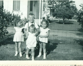 1940s Baby Boom Twin Sisters Brother Family Siblings Boygs Girls Outside Summer fun 40s  Vintage Photograph Black White Sepia Photo