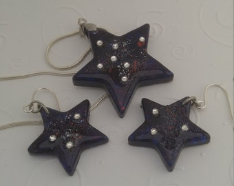 Cygnus Galaxy Star necklace and earring set