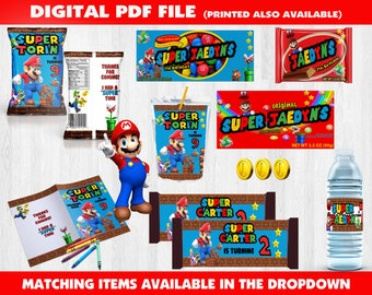 Super Mario Birthday - Mario Juice Box - Mario Party - Super Mario Labels - Super Mario Chip Bag - Custom Party Favors - Super Mario Theme