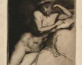 "MATHILDE ANGELE DELASALLE (French, 1867-1941), ""Etude de Nu"", 1909, original etching"