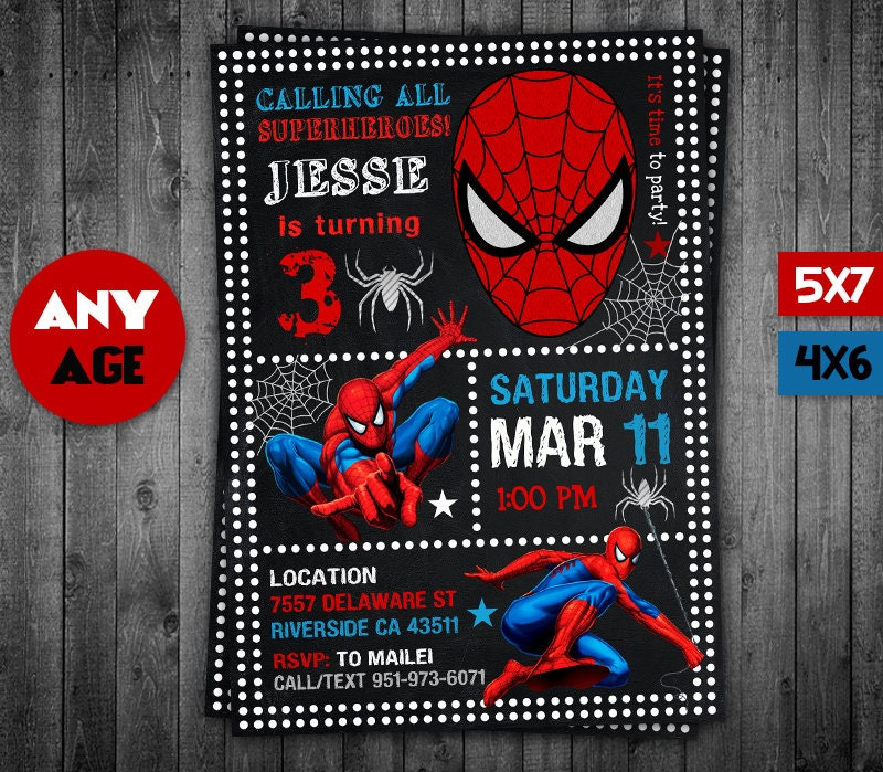 Spiderman Invitation Spiderman Spiderman Party Spiderman