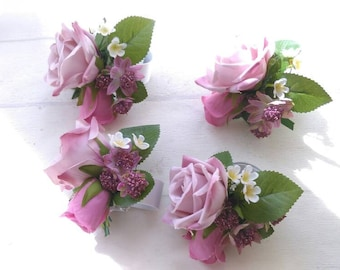 Silk Bridal wedding wrist corsages. Roses, Peonies. Bridesmaid.
