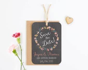 Floral Chalkboard save the date - luggage tag - Autumn Fall wedding
