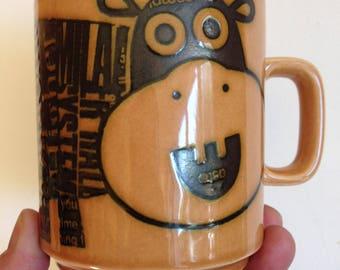 Retro vintage  Hornsea pottery mug newsprint hippo design 1973 by John Clappison perfect