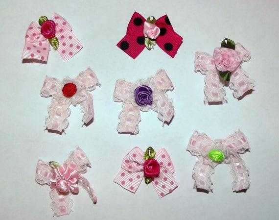 Puppy Bows ~8 pink lacey dot girl EVERYDAY BOWS Yorkie Maltese Shih Tzu ~Usa seller (fb81)