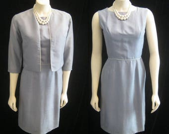 """Vintage 50s 60s  Embroidered Sheath DRESS and JACKET Ensemble Outfit  Wiggle Bombshell Bust 37"""""""