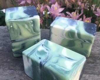 Soap—Hit Refresh.  Essential oils.  Spearmint, eucalyptus.  Activated charcoal.  Aromatherapy.  Cold processed.  Shea butter, coconut oil