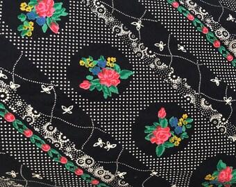 Vintage cotton long skirt flower  shabby chic hippy Medium