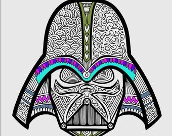 Star Wars Coloring Page, Darth Vader Coloring Page, Printable Coloring, Printable Gifts, Star Wars Gifts, Star Wars Printables, Zentangle