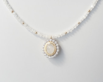 White moonstone and 14Kt gold filled necklace