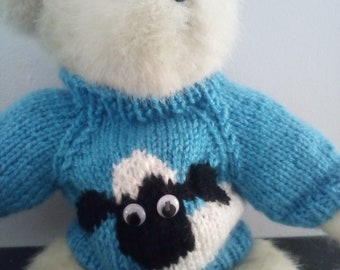 Teddy Bear Sweater - Hand knitted - Blue Sheep design - fits 10 - 12 inch Bear