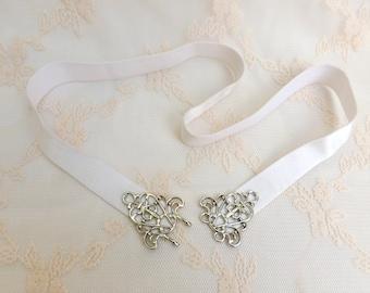 Ivory elastic belt. Dress belt. Bridal belt. Silver filigree belt. Bridesmaid belt. Stretch belt. Skinny belt.