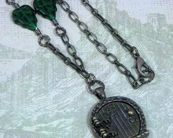 Hobbit or Fairy Door Necklace on 18 Inch Chain with Green Leaves, Hobbit Pendant, Fairy Door Pendant, Fairy Door Locket, Hobbit Locket