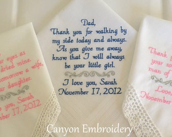 Wedding Handkerchief, Embroidered Wedding Handkerchiefs, Wedding Gifts, Wedding, Embroidered Wedding Day Handkerchiefs by Canyon Embroidery