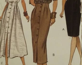 UNCUT and FF Pattern Pieces Vintage Vogue 8460 Sewing Pattern Sizes 8-10-12 Tapered Skirt