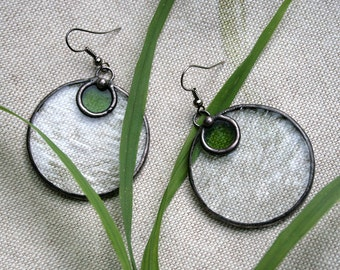 Statement earrings, Unique handcrafted, Green Clear Stained Glass, Boho Style, Big Boho Earrings, Circle earrings,