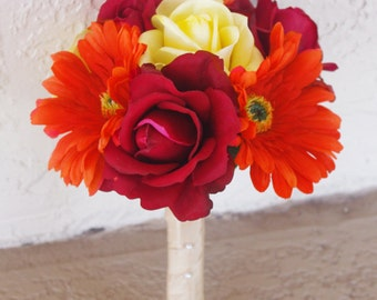 Small Wedding Natural Touch Orange Red and Yellow Roses and Gerberas Silk Flower Bride Bouquet - Almost Fresh