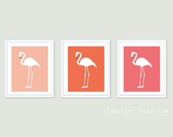Flamingo Art Prints - Flamingo Wall Art  - Flamingo Print - Tropical Decor - Nursery Decor - Nursery Wall Art Tropical Bird Art - 3 Prints
