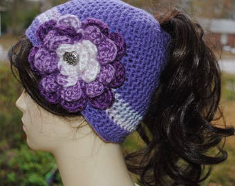 Handmade Crochet ponytail, bun hat 22 to 24 in Lilac