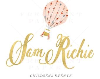style 301 - watercolor gold logo - childrens event logo - calligraphy logo - hot air balloon logo - handwritten logo - freshmint paperie