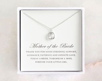 Mother of the Bride Gift from Daughter - Silver Glass Necklace, Wedding Necklace & Thank You Card/ Wedding Day Gift for Mother from Bride