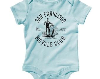 Baby San Francisco Bicycle Club One Piece - Infant Romper - NB 6m 12m 18m 24m - Cycling - San Francisco Baby - 4 Colors