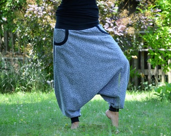 Harem Pants Yogahose Sweat GR 38 Long grey stars