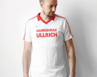 Vintage Adidas SC Postausoccer tshirt / Football soccer jersey t-shirt / Mens t-shirt tee shirt 70s 80s / made in West Germany M L