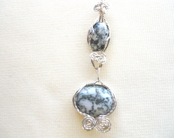 Double Moss Agate Pendant wrapped in Sterling Silver