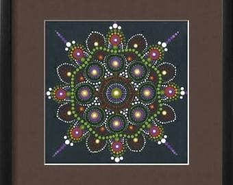 Original Mandala Dot Art Print on Matte Card Stock Photo Paper, Home Decor, Wall art