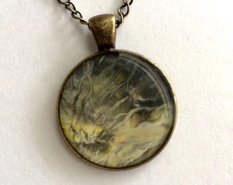 Summer Grass Abstract Acrylic Pendant With Antiqued Bronze Necklace