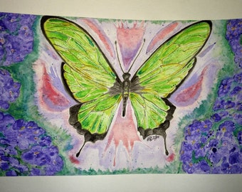 Original Green Butterfly Watercolor Painting on 12x18 Cold Press 140lb Paper. Non Yellowing Acid Free Protection. Green Purple Wall Art.