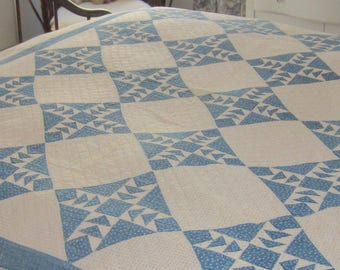 """Serene and Beautiful Blue + White Geese In Flight Quilt 62X75"""""""